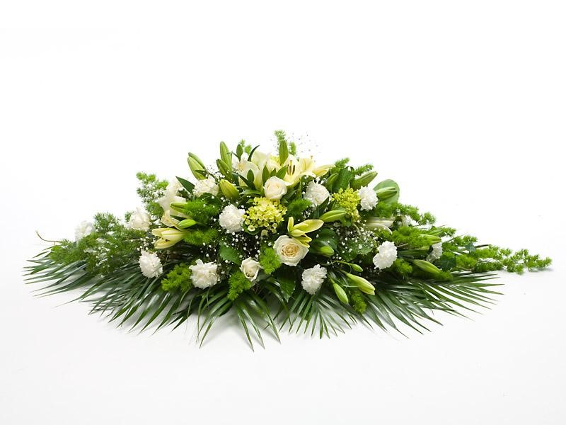 Casket Spray (Classic Green and White)